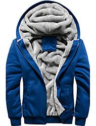 Для мужчин Для спорта и активного отдыха Повседневные Зима Куртка Капюшон,Modern Сплошной цвет Обычная Длинные рукава,Не указан
