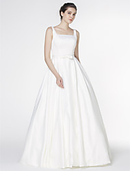 cheap -A-Line Square Neck Court Train Satin Custom Wedding Dresses with Bowknot by LAN TING BRIDE®