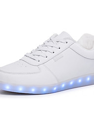 Unisex Sneakers Walking Light Up Shoes Comfort PU Spring Summer Fall Winter Athletic Casual Outdoor LED Lace-up Flat Heel White Black Flat
