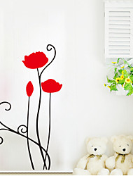 9254 Flower Wall Stickers Red flower Wall Decals For Living Room DIY Home Decorations