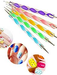 economico -5 pezzi 2 vie Indah 5 warna marbleizing menghiasi alat manicure Lukisan pena, nail art gatto Titik bor pena