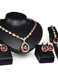 Women's Jewelry Set Synthetic Ruby Wedding Party Synthetic Gemstones Alloy Drop Rings 1 Pair of Earrings 1 Bracelet Necklaces