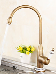 cheap -Kitchen faucet - Antique Antique Brass Tall / ­High Arc Centerset