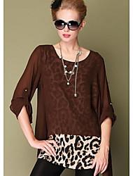 Damen Leopard Einfach Lässig/Alltäglich Bluse,Rundhalsausschnitt Alle Saisons Polyester Undurchsichtig Dünn