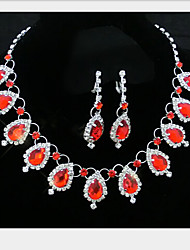 cheap -Jewelry Set Cute Party Gemstone & Crystal Synthetic Gemstones Cubic Zirconia Silver Plated Alloy Drop Necklace Earrings