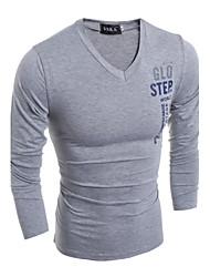 Camiseta De los hombres Estampado-Casual-Algodón / Poliéster-Manga Larga-Azul / Verde / Blanco / Gris