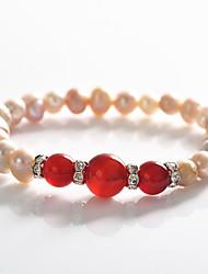 billige -Dame Perle Lyserød Strand Armbånd Armbånd - Perle, Krystal, Sølvbelagt Mode Armbånd Rød Til Fest Speciel Lejlighed Fødselsdag