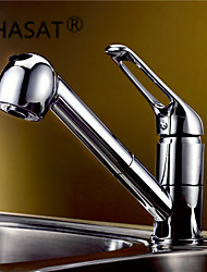 cheap -Contemporary Pull-out/­Pull-down Deck Mounted Pullout Spray Ceramic Valve One Hole Single Handle One Hole Chrome, Kitchen faucet
