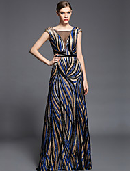 Sheath / Column Illusion Neckline Floor Length Charmeuse Sequined Formal Evening Dress with Beading Sash / Ribbon Sequins by Vanedress