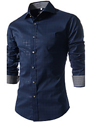 cheap -Men's Plus Size Cotton Slim Shirt - Plaid