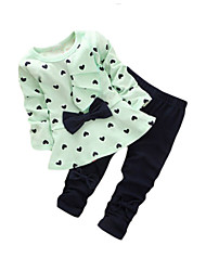 Girls' Going out Print Sets,Cotton Spring Fall Long Sleeve Clothing Set Bow Yellow Green Pink