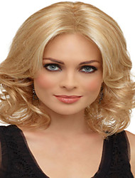 Blonde Color  Medium Synthetic Hair Wave Wig Real High Quality