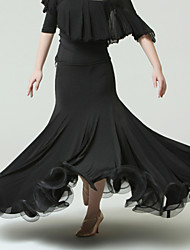 Danse de Salon Femme Spectacle Tulle Soie Glacée Taille moyenne Jupes