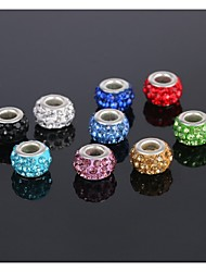 cheap -5Pcs Jewelry Silver Bead Charm European Alloy Crystal Bead Fit Necklace Bracelet Earring (send 5 different colors)