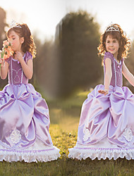 Satin Purple Princess Little Girls' Ball Gown Dress Snow Princess
