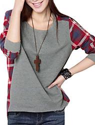 cheap -Women's Plaid Splicing Round Collar T-shirt