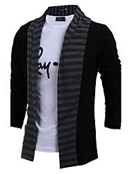cheap -Men's Long Sleeves Cardigan - Color Block Shirt Collar