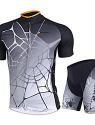 abordables -Nuckily Maillot de Ciclismo con Shorts Unisex Manga Corta Bicicleta Camiseta/Maillot Shorts/Malla corta Pantalones Cortos Acolchados Top