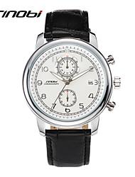 SINOBI Men's Wrist watch Calendar Water Resistant / Water Proof Sport Watch Quartz Leather Band Black