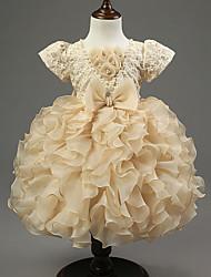 cheap -Ball Gown Knee Length Flower Girl Dress - Organza / Satin Sleeveless Jewel Neck with Bow(s) / Cascading Ruffles by