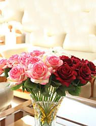 baratos -bouquet de flores artificiais flor de seda/ flores artificiais rosa vermelha - 1 unidade