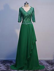 economico -una linea madre chiffona del pavimento di lunghezza del v-collo del vestito dalla sposa con appliques d'abbigliamento da weishang