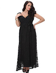 SWEET CURVE Women's Lace Beach Loose / Swing Dress,Solid Deep V Midi Sleeveless Black Polyester Spring