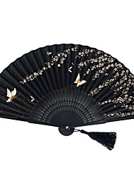 Pondoflotus Japanese Bamboo Silk Folding Fans - 1 Piece/Set Hand Fans Butterfly Theme Black