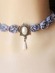 Dame Kort halskæde Gotiske smykker Tatovering Choker Blomstformet Rose Blonde Tatovering Mode Smykker Til Bryllup Fest Daglig Afslappet