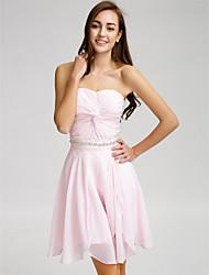 cheap -Lanting Bride® Short / Mini Chiffon Bridesmaid Dress - A-line Strapless with Beading / Crystal Detailing / Sash / Ribbon / Criss Cross