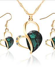 cheap -Jewelry Set - Rhinestone, Rose Gold Plated Drop, Heart, Love Party, Fashion, Cute Include Purple / Green / Blue For Party Special Occasion Anniversary / Earrings / Necklace