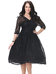 SWEET CURVE Women's Lace Beach Plus Size / Skater Dress,Solid Deep V Knee-length ¾ Sleeve Black Polyester Spring