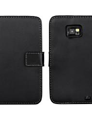 cheap -Genuine Leather Wallet Flip Case with Card Slot and Stand Case for Samsung Galaxy S2 i9100