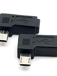 cy® direita girando 90 graus mini-usb fêmea para micro usb macho para telefones / tablets