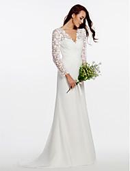 baratos -Tubinho Decote V Cauda Escova Chiffon / Renda Floral Vestidos de casamento feitos à medida com Botões / Renda / Cruzado de LAN TING BRIDE®