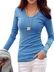 cheap -Women's Basic Soft V-neck Slim T-shirt