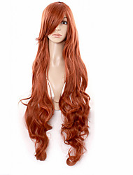 cheap -Hot Red Brown Wig Anime Wig Curly Hair Inclined Bang Synthetic Wigs