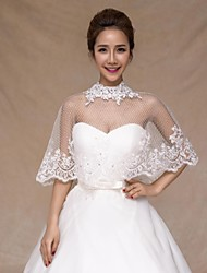 cheap -Sleeveless Tulle Wedding Wedding  Wraps With Crystal / Appliques / Lace Capelets