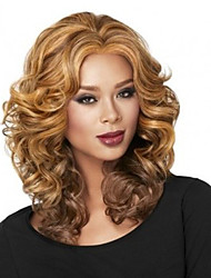 Fashion Curly Blonde Color Waves of High Quality Synthetic Hair Wig.