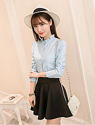 Women's Solid Blue / White Shirt , Stand Long Sleeve Korean Blouses