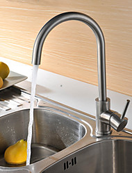 Contemporary Tall/High Arc Deck Mounted Ceramic Valve Single Handle One Hole Brushed , Kitchen faucet