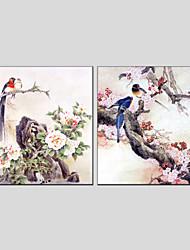 手描きの 動物 / 花柄/植物のクラシック / トラディショナル / 欧風 / Modern 2枚 キャンバス ハング塗装油絵 For ホームデコレーション