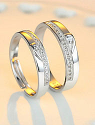 cheap -Couple's Couple Rings - Sterling Silver Adjustable For Wedding / Party / Daily / Zircon