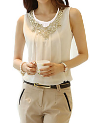 cheap -Women's Plus Size Polyester Blouse - Solid, Lace Beaded