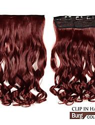 abordables -clip largo en ondulado sintético / extensiones de cabello rizado con 5 clips burg