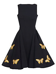 cheap -Women's Party / Cocktail / Casual / Day Solid Swing Dress , Boat Neck Knee-length Polyester