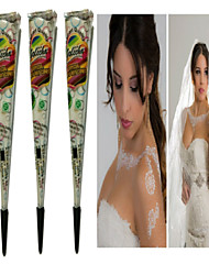 cheap -Halloween 3pcs White Henna Cones Tatoo Tube Indian Temporary Tattoo Body Paint For Bridal & Wedding