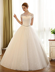 cheap -A-Line Scoop Neck Floor Length Tulle Wedding Dress with Appliques Lace by Embroidered bridal