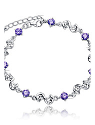 cheap -Women's Sterling Silver Crystal Chain Bracelet Charm Bracelet - Bridal Fashion Simple Style Jewelry White Purple Bracelet For Wedding