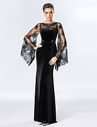 cheap -Sheath / Column Illusion Neckline Floor Length Velvet Floral Lace Formal Evening Dress with Lace Inset by TS Couture®